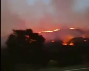 广东饶平山火 官方:高速上货车自燃导致