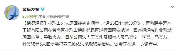 青岛小珠山火灾原因初步查明 腾宇天齐工贸公司违规焊接引燃枯草