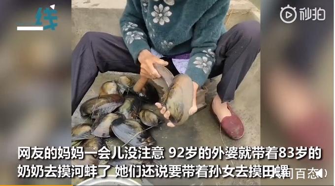 92岁外婆带83岁奶奶摸河蚌 还说要带着孙女去摸田螺