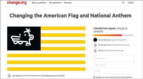 上百万网民请愿修改美国国旗 短短两天请愿便获得一百万多网民的支持