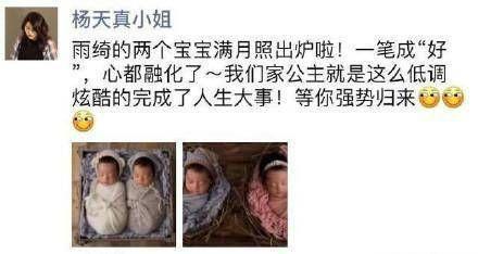 张雨绮有一对双胞胎孩子 杨天真在朋友圈发出一组双胞胎组图