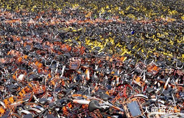 哈尔滨共享单车坟场 场内大概有数万辆