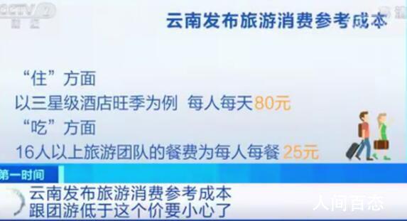 云南发布旅游消费参考成本 如果低于它的绝对是坑