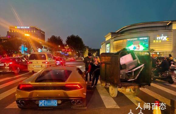 环卫车撞上兰博基尼损失超10万 车主:对方生活不易不予追究