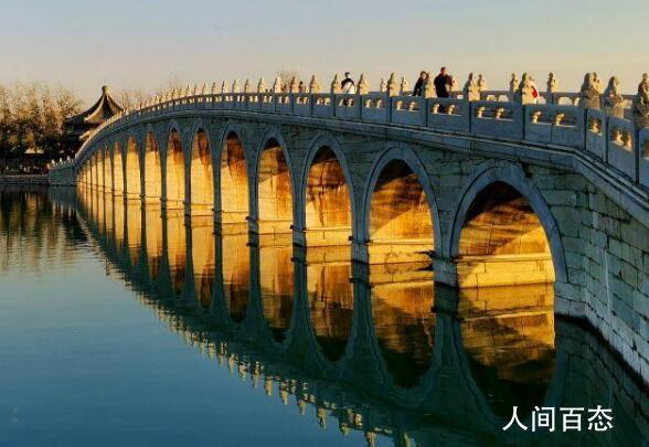 颐和园十七孔桥再现金光穿洞 金灿灿的十分壮美