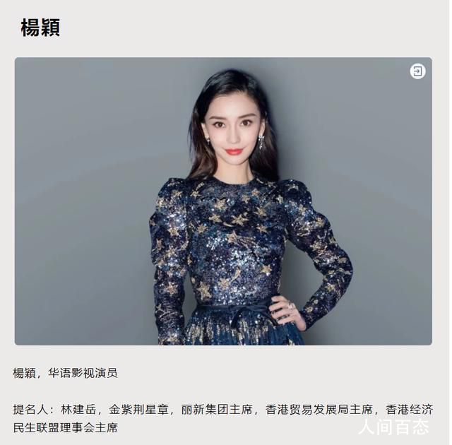 杨颖被评为香港十大杰出青年 遭到不少网友的质疑