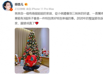 胡杏儿宣布怀三胎 网友们纷纷送上真诚的祝福