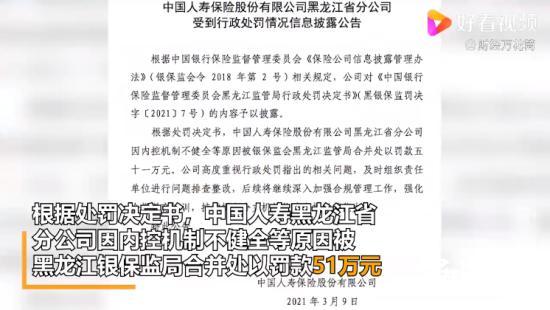 中国人寿黑龙江省分公司被罚51万 这究竟是怎么回事呢