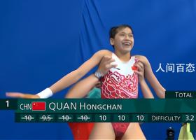 14岁全红婵3跳满分夺金 10米跳台献上精彩一跳