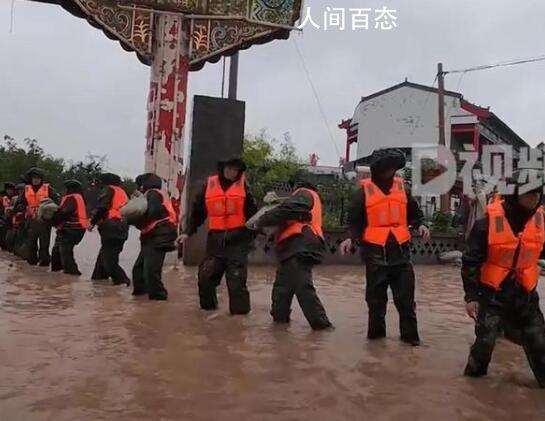 山西咸阳河溢出 淹没当地农田